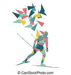 Skiing man vector background abstract illustration concept made of polygon fragments