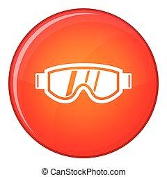 Skiing mask icon, flat style