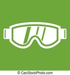 Skiing mask icon green