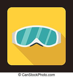Skiing mask icon in flat style