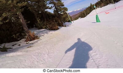 Skiing on the mountain Pyrenees in Spain, Masella
