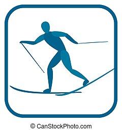 skiing., país, cruz