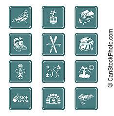 Skiing resort icons || TEAL series