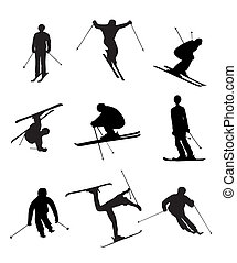 Skiing silhouettes