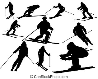 Vector collection of isolated alpine skiing silhouettes on white background