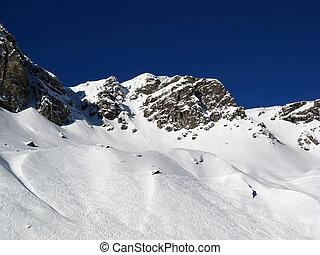 Skiing slope - Slope on the skiing resort Scuol. Switzerland