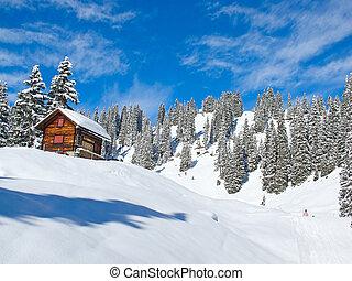 Skiing slope - Slope on the skiing resort Braunwald....