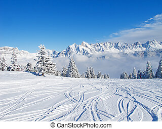 Skiing slope - Slope on the skiing resort Flumserberg....