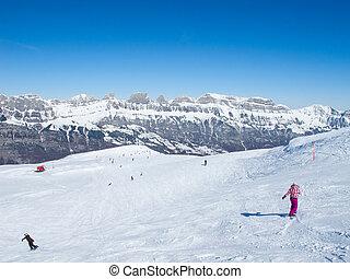 Skiing slope - Slope on the skiing resort Flumserberg....