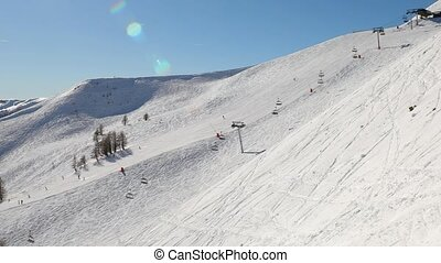 Skiing slopes from the top - Skiing slope and lift in the...