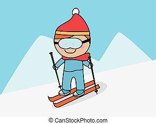 Skiing snow