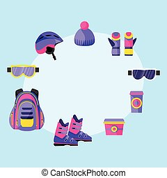 Skiing, snowboarding accessories - helmet, backpack, mask, gloves, lunch box, cup