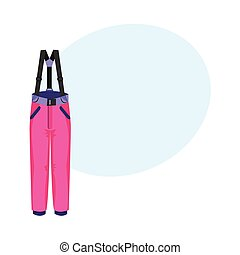 Skiing, snowboarding feather pants, winter sport clothes, flat vector illustration