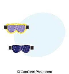 Skiing, snowboarding mask, goggles, eyewear, protective eye glasses, flat illustration