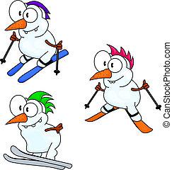 Skiing snowmen - Three funny cartoon snowmen are skiing.
