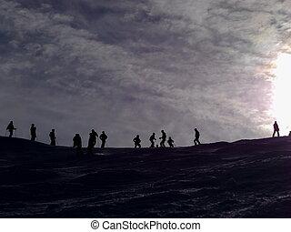 skiing snowy landscape