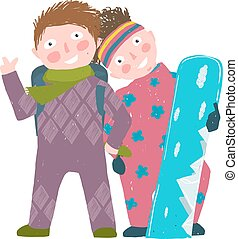 Skiing Sport Child Girl and Boy in Winter Clothes with Snowboard Cartoon