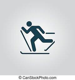 Skiing vector icon