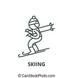 Skiing vector line icon, linear concept, outline sign, symbol