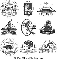Skiing Vintage Labels Set