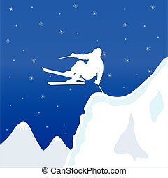 skiing white man in winter vector illustration