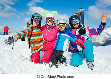 Skiing winter fun. Happy family - Skiing, winter, snow, sun...