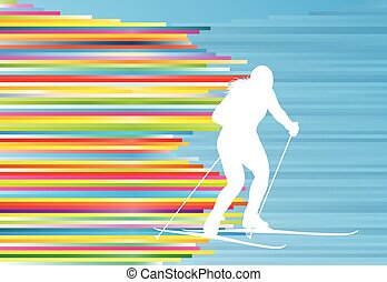 Skiing woman abstract vector illustration with colorful stripes on blue
