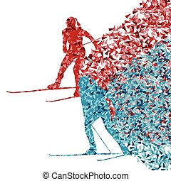 Skiing women abstract vector background illustration made of...