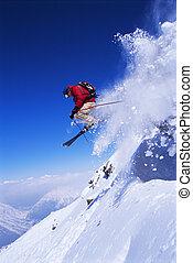 skiløber, springe