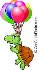 skildpadde, balloon, flyve