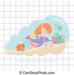 skildpadde, delfin, havfrue, under, rev, cartoon, koral, baggrund, hav