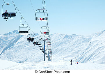 skilift, stühle, auf, hell, winter, tag
