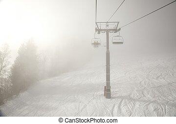 skilift, wolken