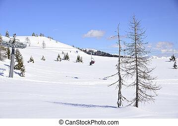skilifts, alatt, alps, képben látható, egy, napos, tél, nap