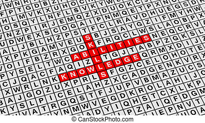 Skill, Ability, Knowledge Crossword Puzzle on 3D Cubes Background