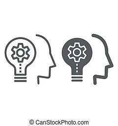 Skill Development line and glyph icon, education and school, idea sign vector graphics, a linear icon on a white background, eps 10.