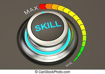 skill knob, max level of skills. 3D rendering