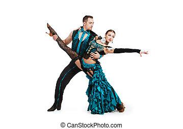 skill partner - Beautiful professional dancers perform tango...