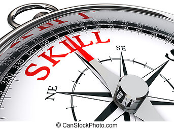 skill red word on concept compass