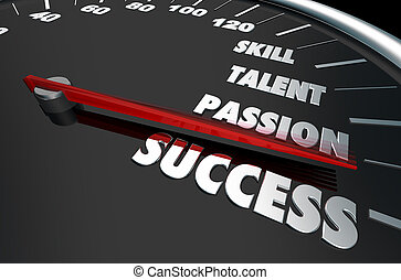 Skill Talent Passion Success Speedometer Words 3d Illustration