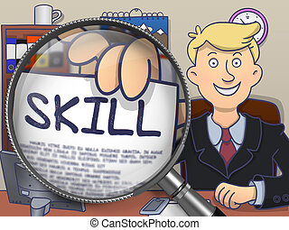 Skill through Lens. Doodle Concept. - Skill. Happy Man in...