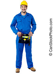 Skilled male plumber with toolkit - Cheerful skilled male...