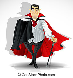 Skilled old vampire in cape and with walking stick.