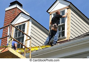 Skilled Trade 2008 4 - Contractors on scaffold lift working ...