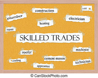 Skilled Trades Corkboard Word Concept with great terms such as heating, roofer, machinist and more.