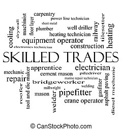 Skilled Trades Word Cloud Concept in black and white with...