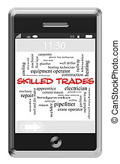 Skilled Trades Word Cloud Concept on Touchscreen Phone -...