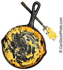 Skillet and Fork of Eaten Macaroni and Cheese