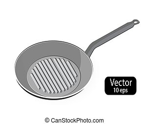 Skillet. Empty frying pan grill isolated on white background. Kitchen utensils for cooking food. Vector illustration