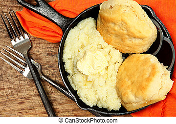 Skillet Grits and Biscuits with Butter and Jam